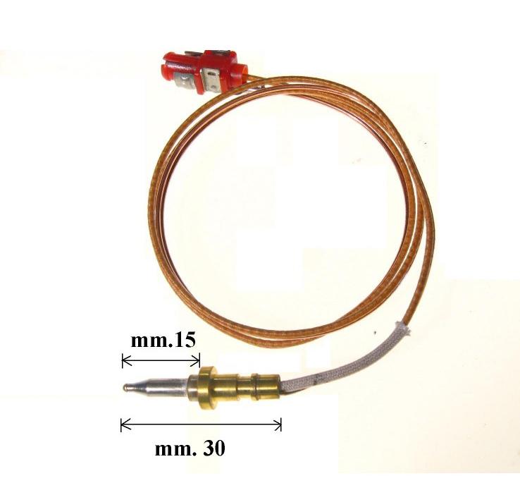 Termocoppia attacco spinotto adattabile Ignis Whirlpool lunghezza totale 51cm